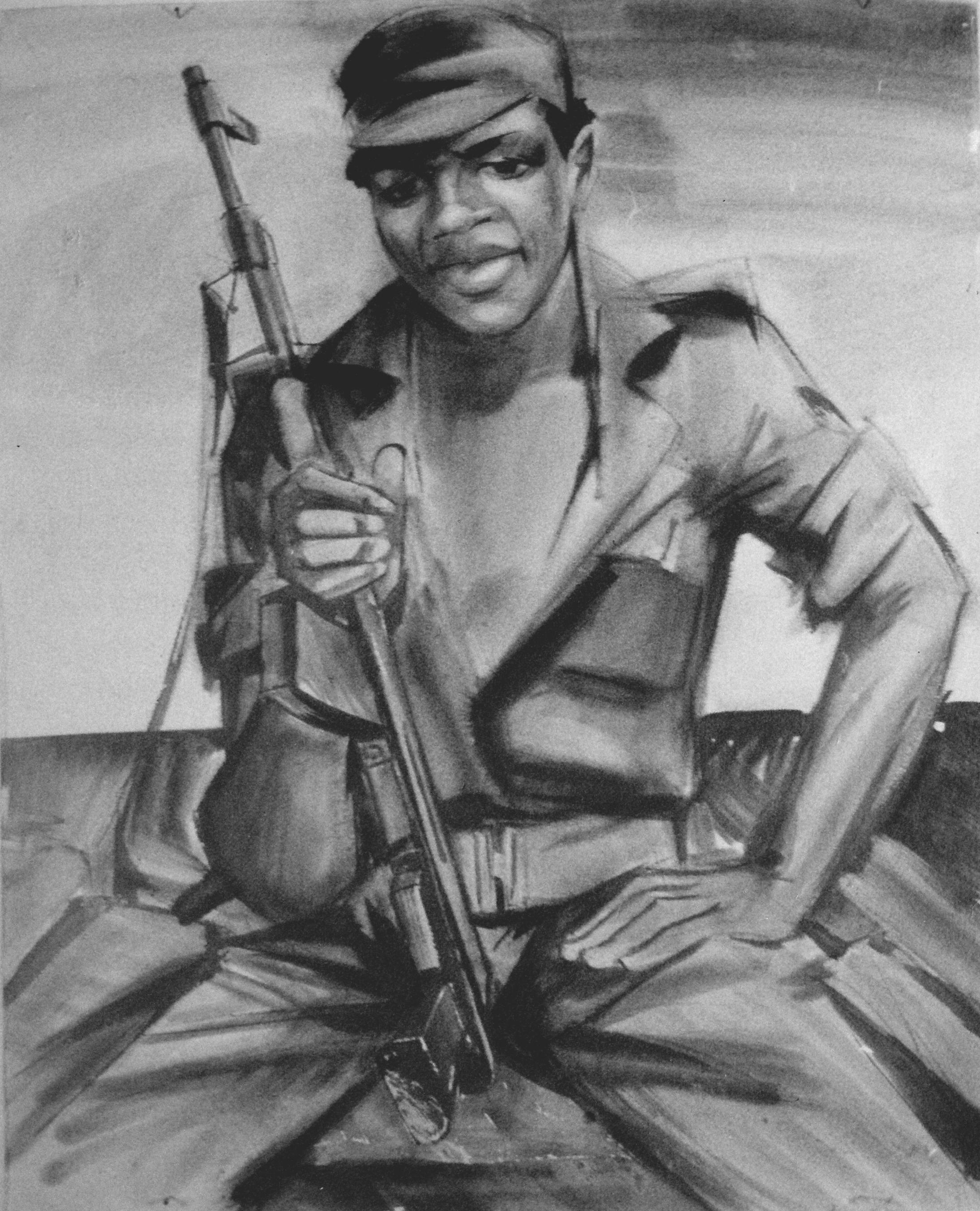 Angola_Soldier_artist_Sergei_Minin_Paper_Watercolor_80x60cm