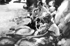 Zimbabwe_On_the_market_artist_Sergei Minin_Paper_Acrylic_38x56cm