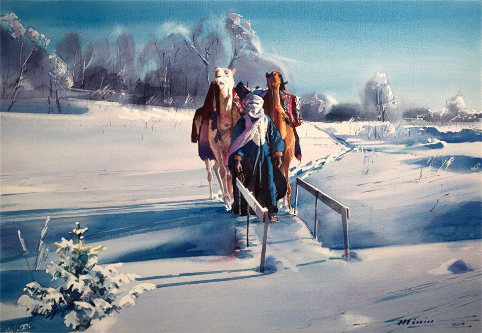 ,,На снежных просторах,, Бумага, акварель. 38х56см.
